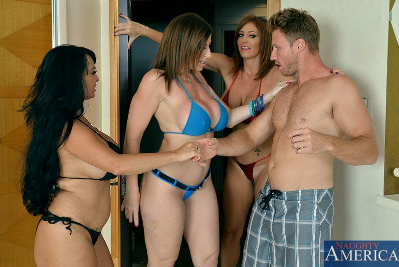 Lucky dude fucks these two cute blonde and brunette lesbians after school 3